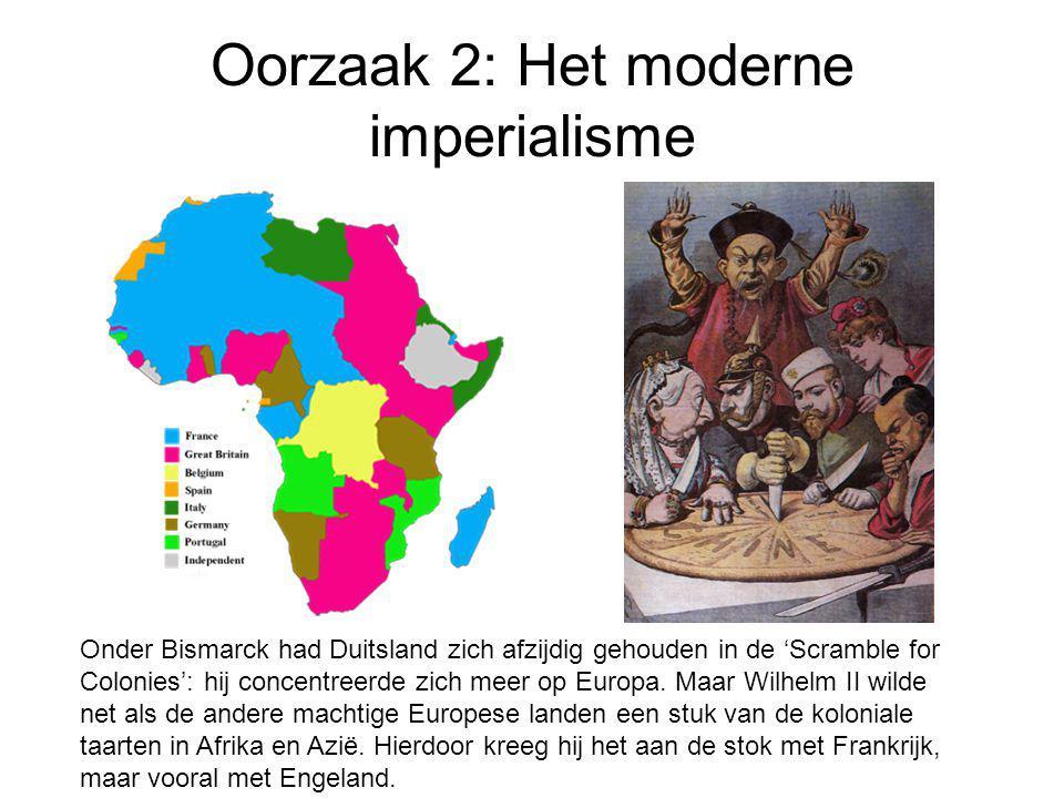 Oorzaak 2: Het moderne imperialisme Onder Bismarck had Duitsland zich afzijdig gehouden in de 'Scramble for Colonies': hij concentreerde zich meer op