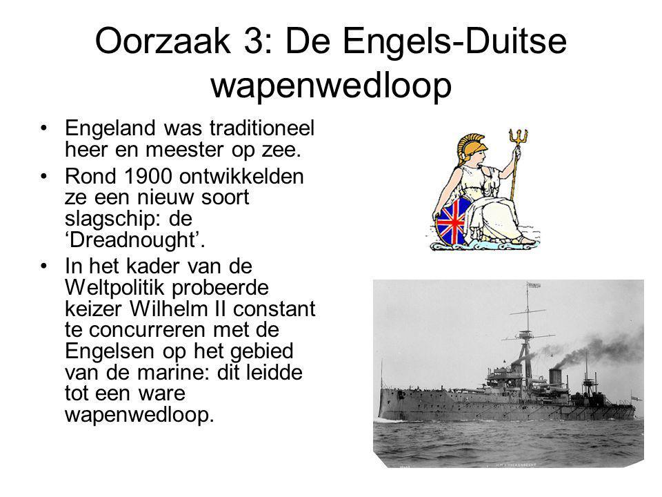 Oorzaak 3: De Engels-Duitse wapenwedloop Engeland was traditioneel heer en meester op zee. Rond 1900 ontwikkelden ze een nieuw soort slagschip: de 'Dr