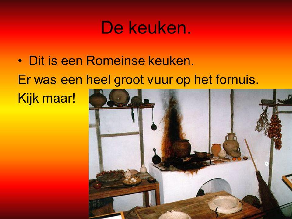 De keuken. Dit is een Romeinse keuken. Er was een heel groot vuur op het fornuis. Kijk maar!