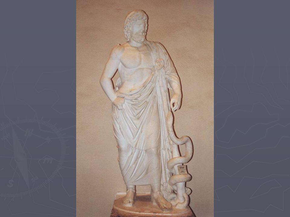 Geneeskunde bij de Grieken ► = ernstige zaak ► Goden spelen een hoofdrol  Asklepios: ► Staf en slang ► Tempelslaap