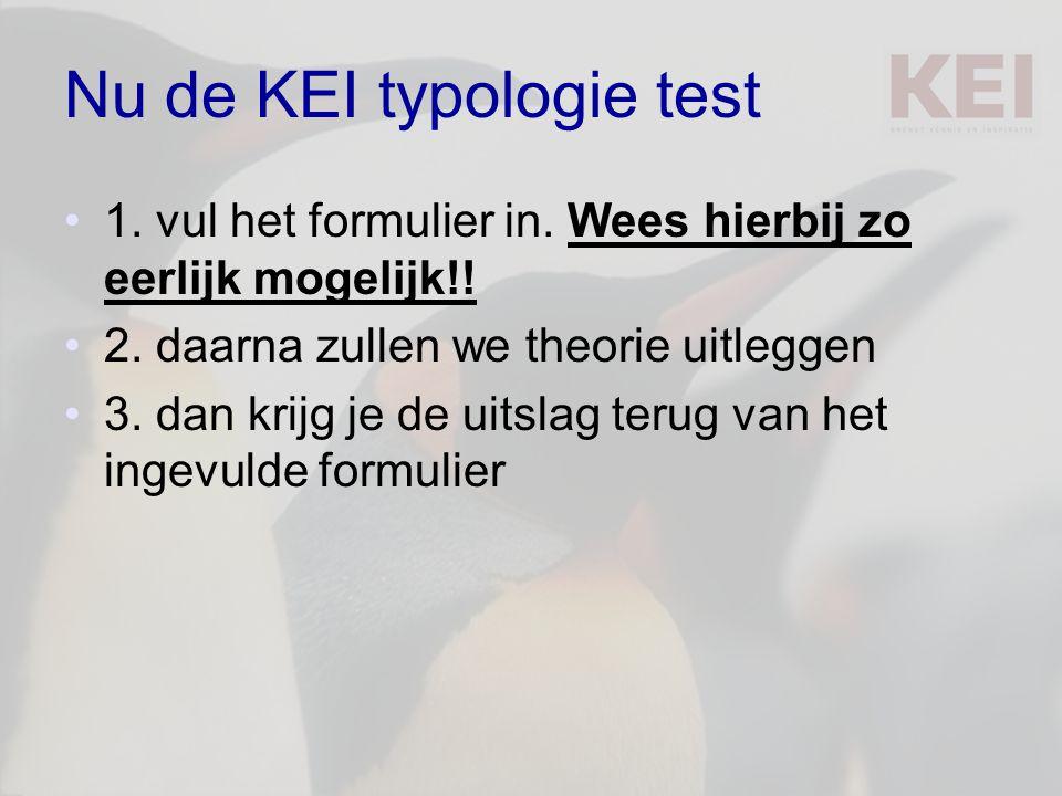 Nu de KEI typologie test 1. vul het formulier in. Wees hierbij zo eerlijk mogelijk!! 2. daarna zullen we theorie uitleggen 3. dan krijg je de uitslag