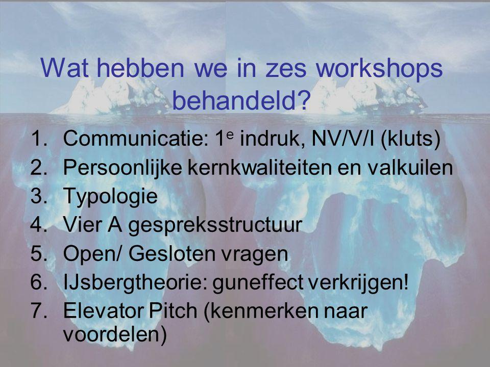 Wat hebben we in zes workshops behandeld? 1.Communicatie: 1 e indruk, NV/V/I (kluts) 2.Persoonlijke kernkwaliteiten en valkuilen 3.Typologie 4.Vier A