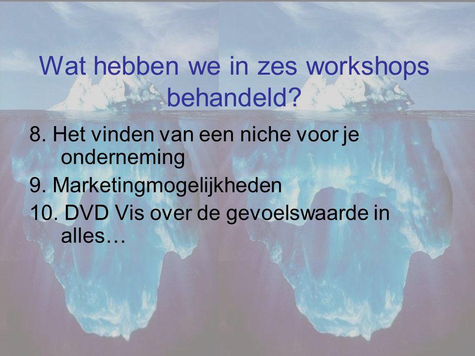 Wat hebben we in zes workshops behandeld? 8. Het vinden van een niche voor je onderneming 9. Marketingmogelijkheden 10. DVD Vis over de gevoelswaarde