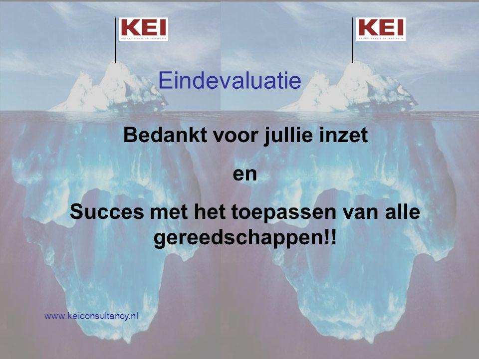 Eindevaluatie Bedankt voor jullie inzet en Succes met het toepassen van alle gereedschappen!! www.keiconsultancy.nl Eindevaluatie Bedankt voor jullie