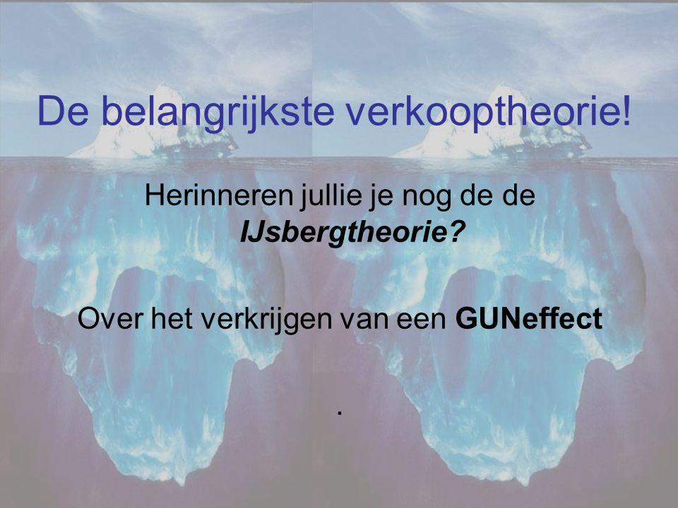 De belangrijkste verkooptheorie! Herinneren jullie je nog de de IJsbergtheorie? Over het verkrijgen van een GUNeffect.