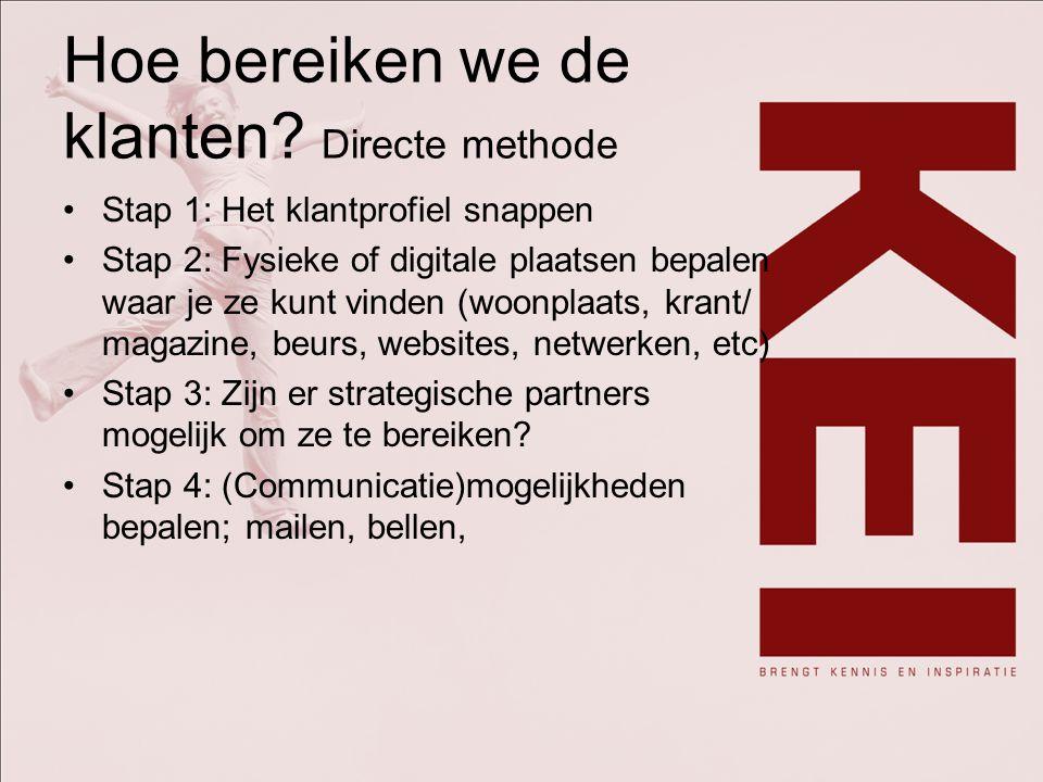 Hoe bereiken we de klanten.Stap 5: Koppelen communicatiemogelijkheden aan kosten en baten.