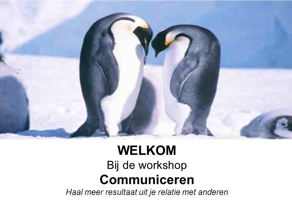WELKOM Bij de workshop Communiceren Haal meer resultaat uit je relatie met anderen