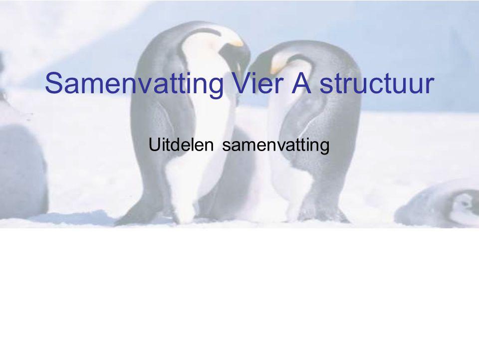 Samenvatting Vier A structuur Uitdelen samenvatting