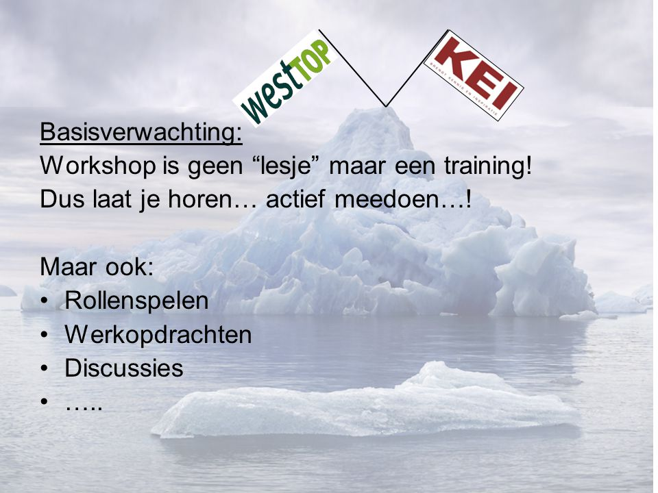 Basisverwachting: Workshop is geen lesje maar een training.