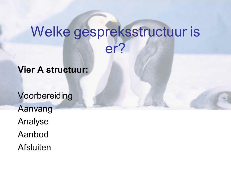 Welke gespreksstructuur is er Vier A structuur: Voorbereiding Aanvang Analyse Aanbod Afsluiten