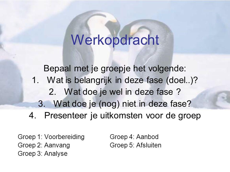 Werkopdracht Bepaal met je groepje het volgende: 1.Wat is belangrijk in deze fase (doel..).