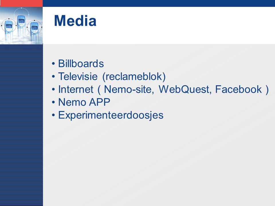 LOGO Media Billboards Televisie (reclameblok) Internet ( Nemo-site, WebQuest, Facebook ) Nemo APP Experimenteerdoosjes