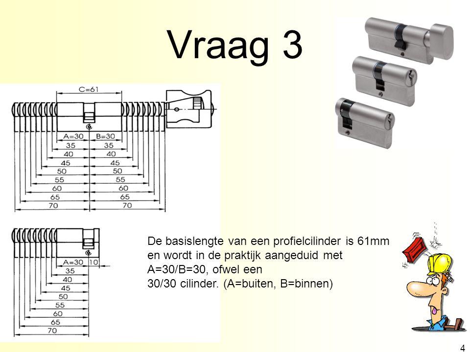 Vraag 3 4 De basislengte van een profielcilinder is 61mm en wordt in de praktijk aangeduid met A=30/B=30, ofwel een 30/30 cilinder.