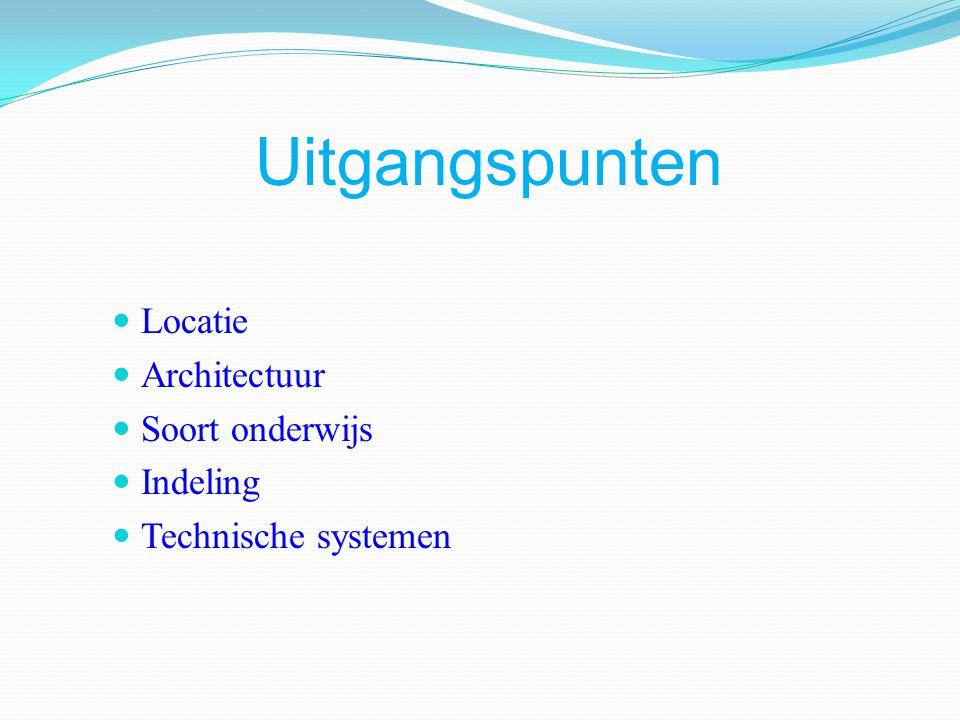 Uitgangspunten Locatie Architectuur Soort onderwijs Indeling Technische systemen