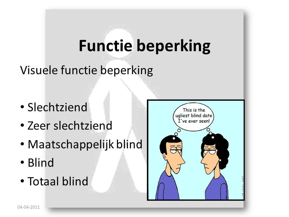 Functie beperking Visuele functie beperking Slechtziend Zeer slechtziend Maatschappelijk blind Blind Totaal blind 04-04-2011