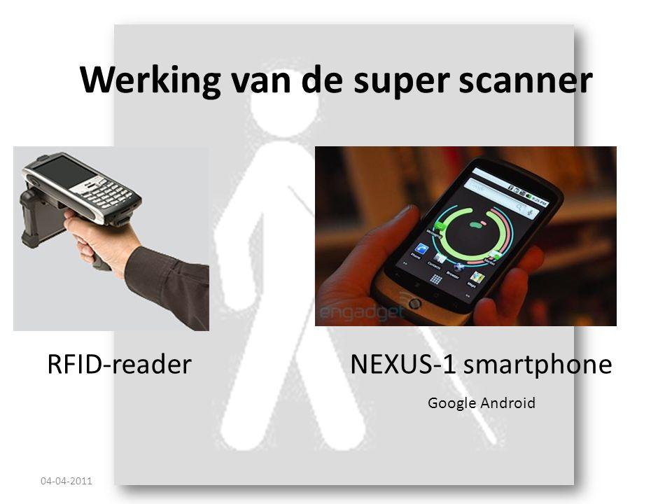Werking van de super scanner NEXUS-1 smartphone 04-04-2011 Google Android RFID-reader