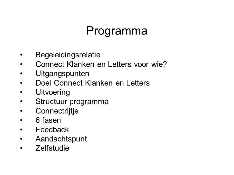 Programma Begeleidingsrelatie Connect Klanken en Letters voor wie? Uitgangspunten Doel Connect Klanken en Letters Uitvoering Structuur programma Conne