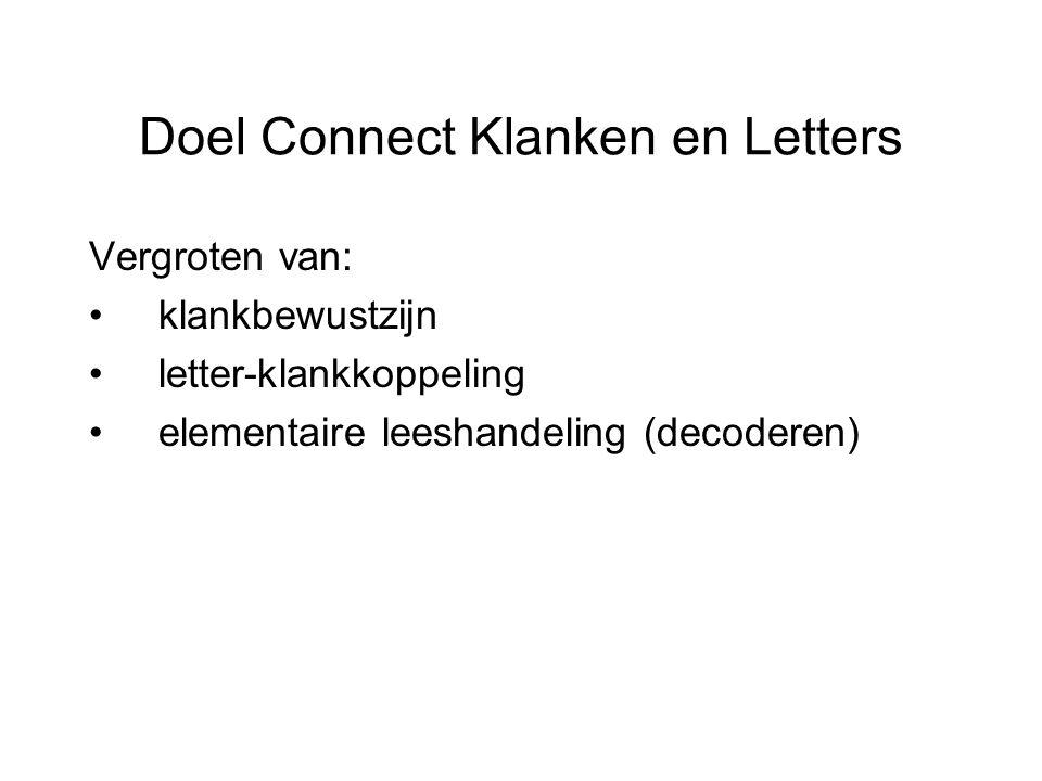 Doel Connect Klanken en Letters Vergroten van: klankbewustzijn letter-klankkoppeling elementaire leeshandeling (decoderen)