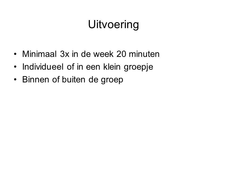 Uitvoering Minimaal 3x in de week 20 minuten Individueel of in een klein groepje Binnen of buiten de groep