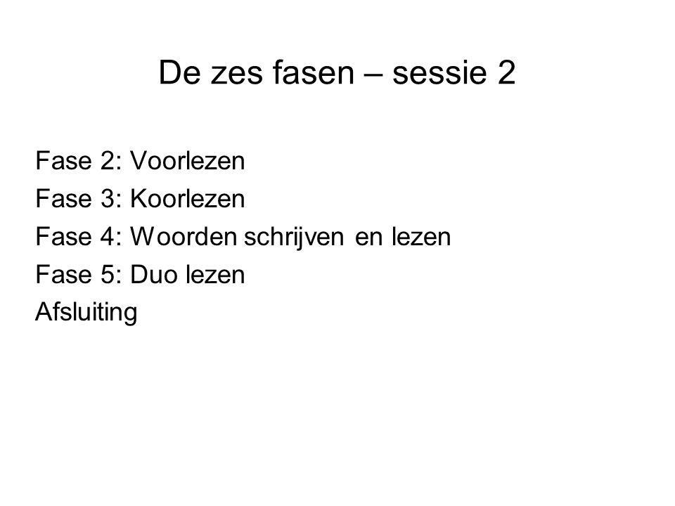 De zes fasen – sessie 3 Fase 2: Voorlezen Fase 4: Woorden schrijven en lezen Fase 5: Duo lezen Fase 6: Fluisterlezen Afsluiting
