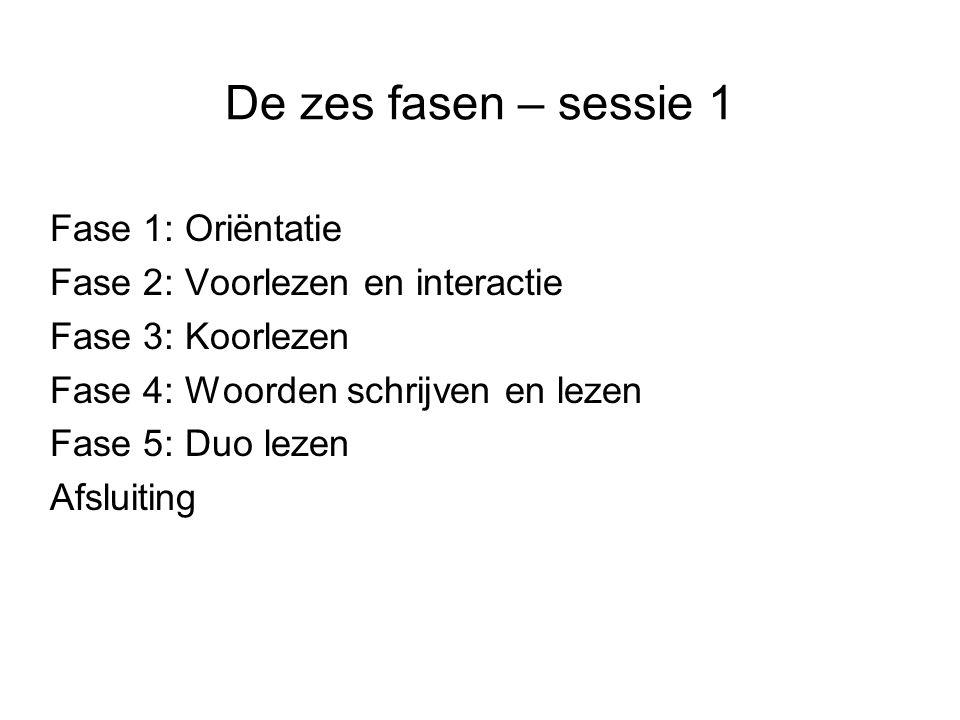 De zes fasen – sessie 1 Fase 1: Oriëntatie Fase 2: Voorlezen en interactie Fase 3: Koorlezen Fase 4: Woorden schrijven en lezen Fase 5: Duo lezen Afsl