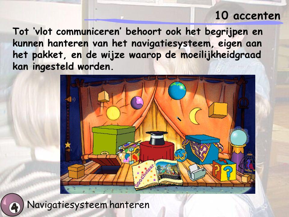 10 accenten Navigatiesysteem hanteren Tot 'vlot communiceren' behoort ook het begrijpen en kunnen hanteren van het navigatiesysteem, eigen aan het pak