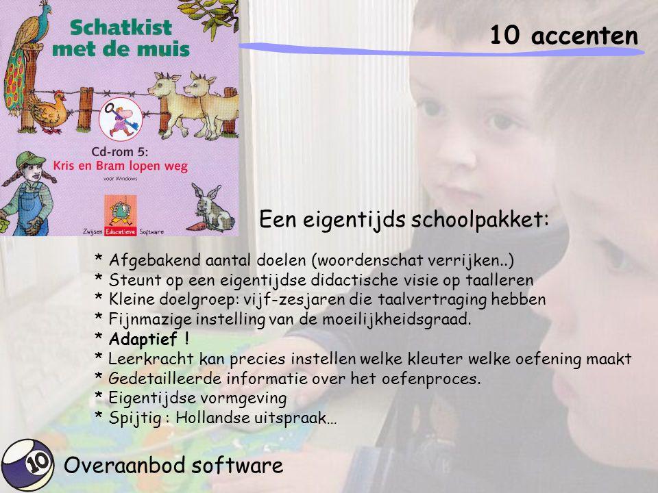 Overaanbod software 10 accenten * Afgebakend aantal doelen (woordenschat verrijken..) * Steunt op een eigentijdse didactische visie op taalleren * Kle