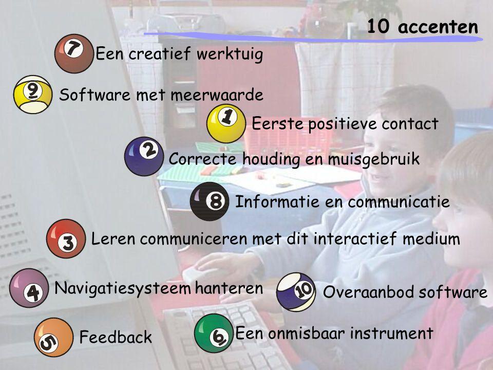 10 accenten Eerste positieve contact Contact met de computer in de klas = eerste vorm van contact met het medium.