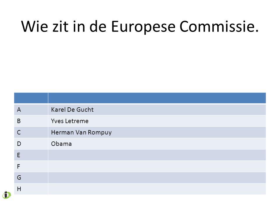 Wie zit in de Europese Commissie. AKarel De Gucht BYves Letreme CHerman Van Rompuy DObama E F G H