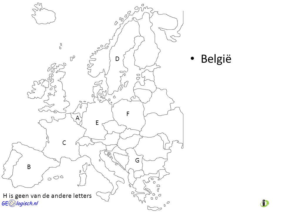 België A C D E B F G H is geen van de andere letters