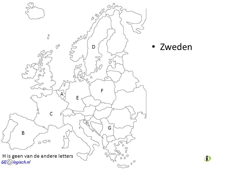 Zweden A C D E B F G H is geen van de andere letters