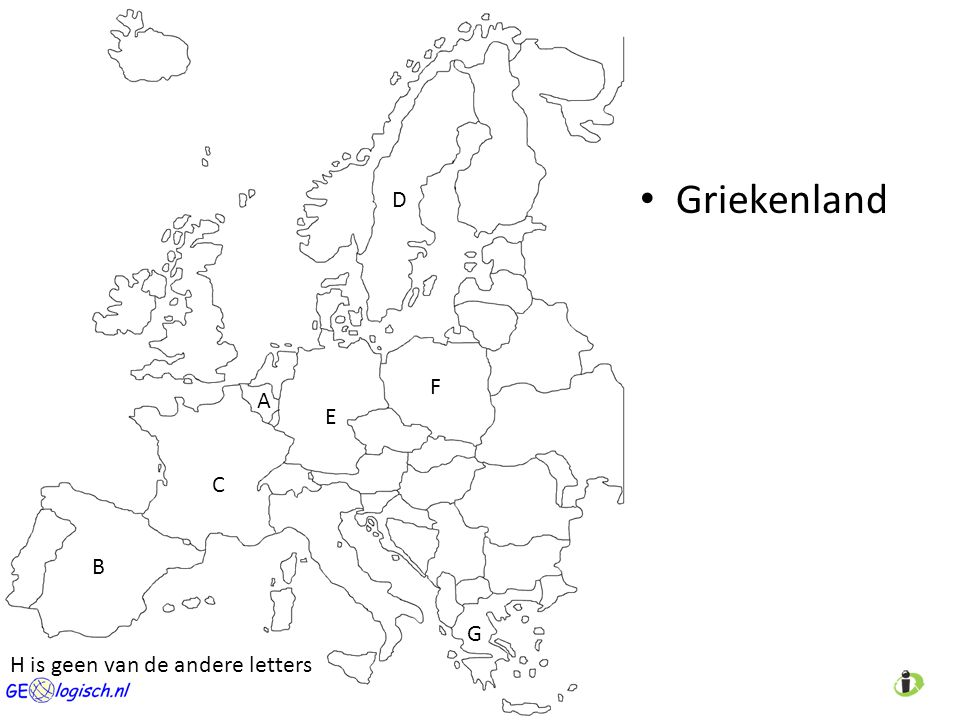 Griekenland A C D E B F G H is geen van de andere letters
