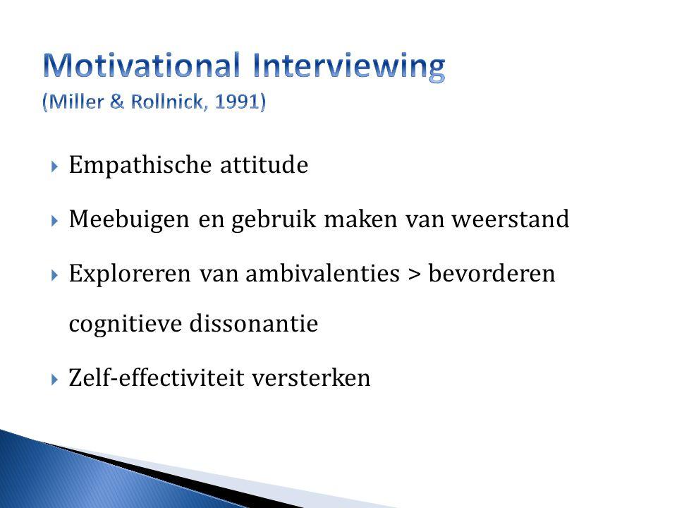  Empathische attitude  Meebuigen en gebruik maken van weerstand  Exploreren van ambivalenties > bevorderen cognitieve dissonantie  Zelf-effectiviteit versterken