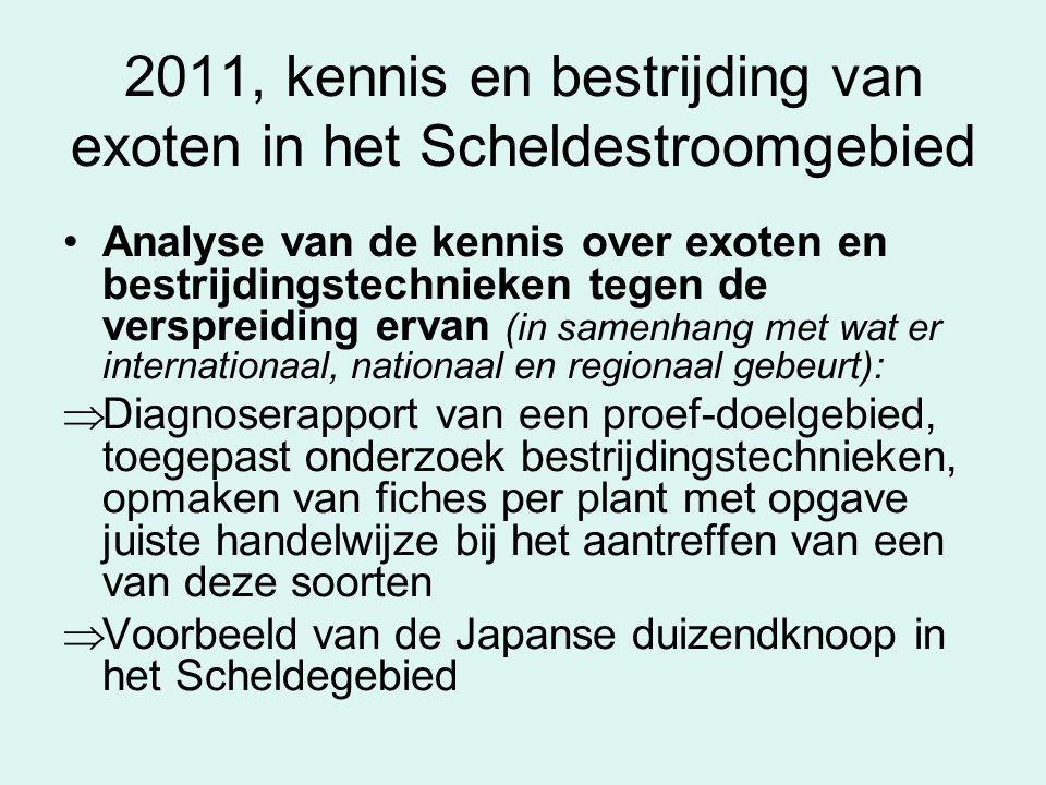 2011, kennis en bestrijding van exoten in het Scheldestroomgebied Analyse van de kennis over exoten en bestrijdingstechnieken tegen de verspreiding er