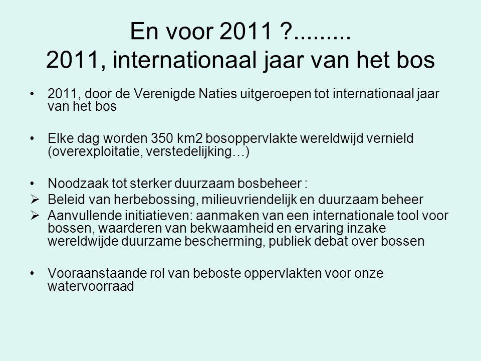 En voor 2011 ?......... 2011, internationaal jaar van het bos 2011, door de Verenigde Naties uitgeroepen tot internationaal jaar van het bos Elke dag