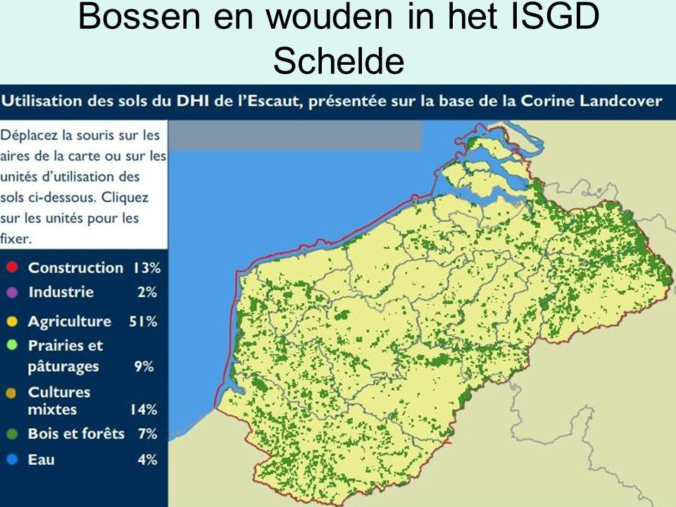 Bossen en wouden in het ISGD Schelde Source : Commission Internationale de l'Escaut