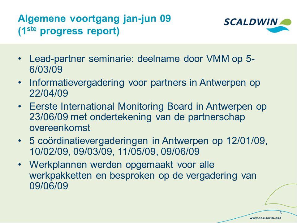 Algemene voortgang jan-jun 09 (1 ste progress report) Lead-partner seminarie: deelname door VMM op 5- 6/03/09 Informatievergadering voor partners in Antwerpen op 22/04/09 Eerste International Monitoring Board in Antwerpen op 23/06/09 met ondertekening van de partnerschap overeenkomst 5 coördinatievergaderingen in Antwerpen op 12/01/09, 10/02/09, 09/03/09, 11/05/09, 09/06/09 Werkplannen werden opgemaakt voor alle werkpakketten en besproken op de vergadering van 09/06/09 6