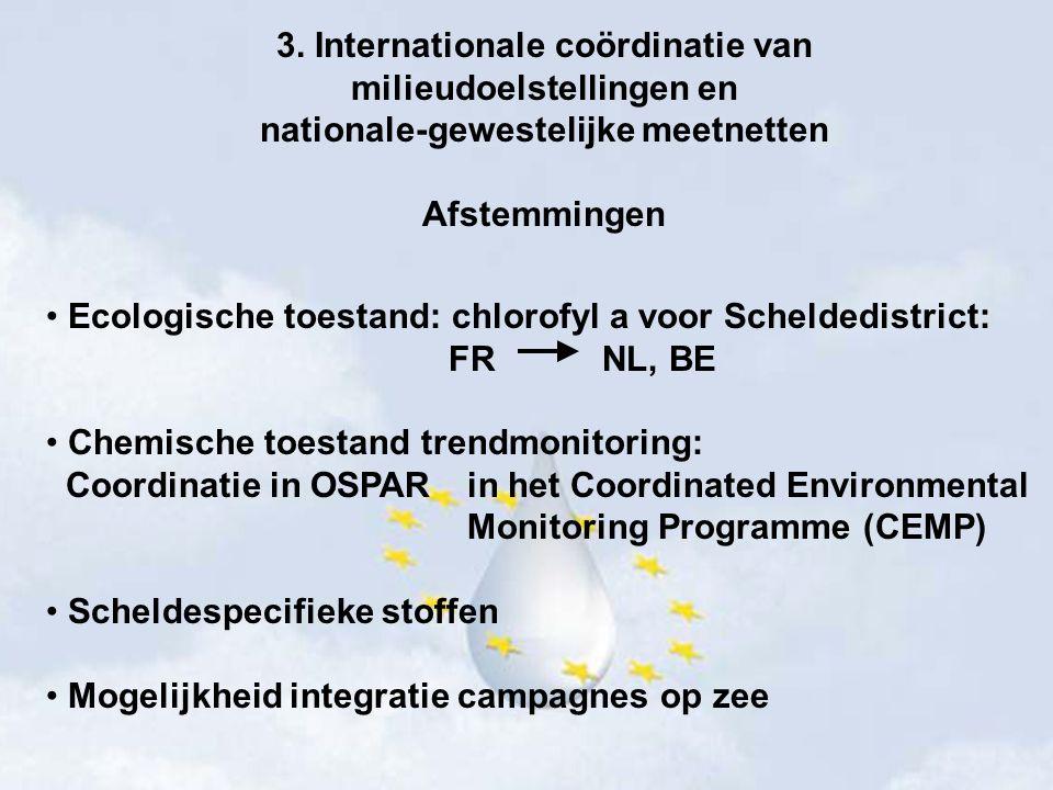 3. Internationale coördinatie van milieudoelstellingen en nationale-gewestelijke meetnetten Afstemmingen Ecologische toestand: chlorofyl a voor Scheld