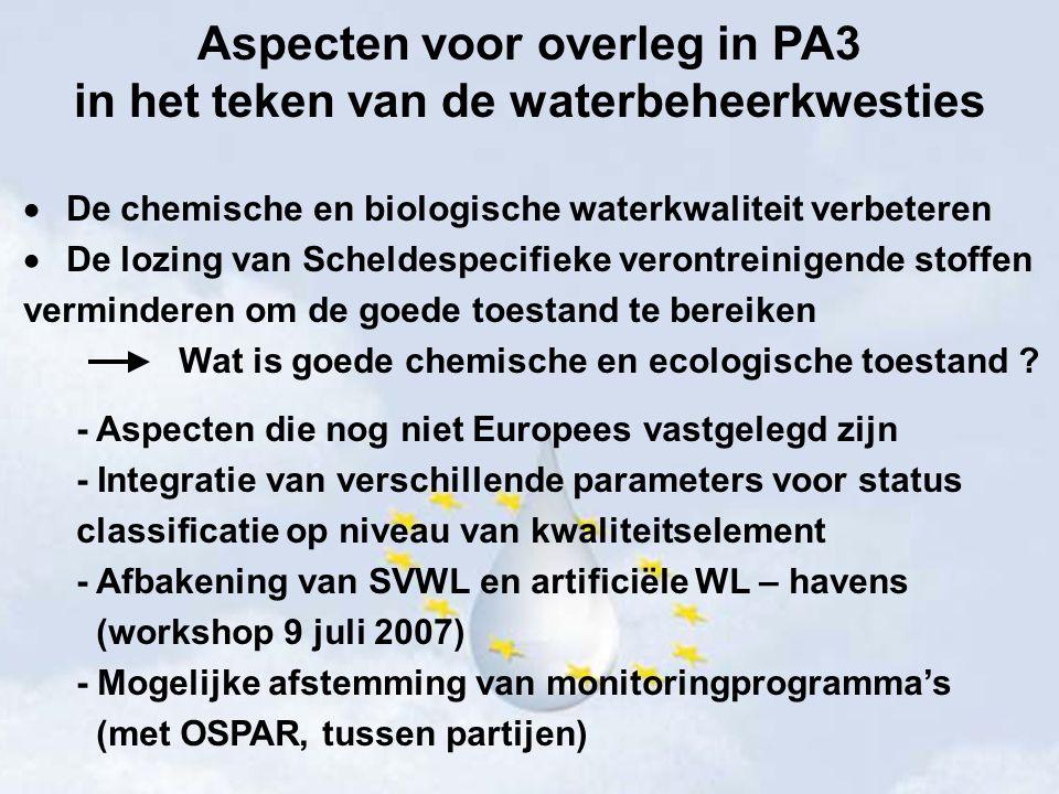 Aspecten voor overleg in PA3 in het teken van de waterbeheerkwesties  Gegevens, meetmethoden en beoordelingsmethoden uitwisselen en de vergelijkbaarheid verbeteren wegens complexiteit van de Richtlijn verschillen in interpretatie diversiteit aan oplossingen voor wetenschappelijke, technische en practische problemen inzicht in verschillen en overeenkomsten tussen partijen (PA3: chemische en ecologische toestand, scheldespecifieke stoffen, monitoring, maatregelen) kan ook risico op foutieve implementatie beperken