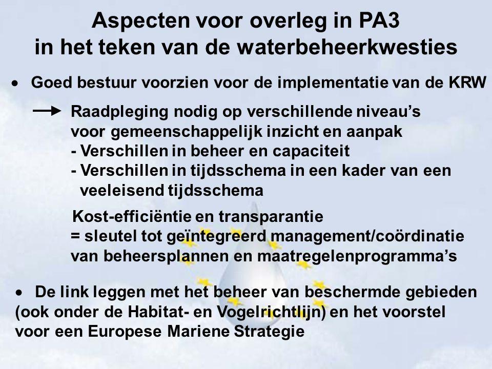 Aspecten voor overleg in PA3 in het teken van de waterbeheerkwesties  Goed bestuur voorzien voor de implementatie van de KRW Raadpleging nodig op ver