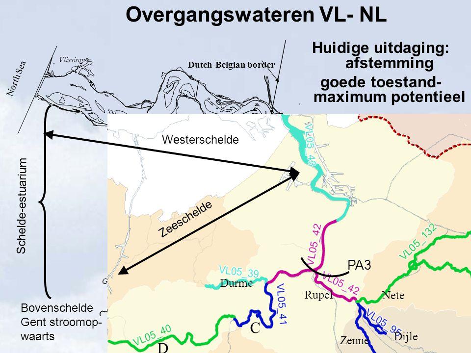 Antwerpen Gent Vlissingen Terneuzen Durme Lokeren Rupel Zenne Dijle Nete Kleine Nete Grote Nete Dutch-Belgian border North Sea Overgangswateren VL- NL