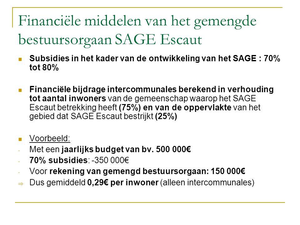Financiële middelen van het gemengde bestuursorgaan SAGE Escaut Subsidies in het kader van de ontwikkeling van het SAGE : 70% tot 80% Financiële bijdrage intercommunales berekend in verhouding tot aantal inwoners van de gemeenschap waarop het SAGE Escaut betrekking heeft (75%) en van de oppervlakte van het gebied dat SAGE Escaut bestrijkt (25%) Voorbeeld: - Met een jaarlijks budget van bv.