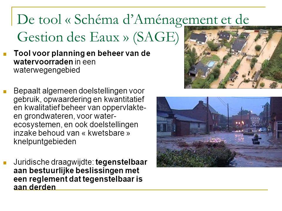 De tool « Schéma d'Aménagement et de Gestion des Eaux » (SAGE) Tool voor planning en beheer van de watervoorraden in een waterwegengebied Bepaalt algemeen doelstellingen voor gebruik, opwaardering en kwantitatief en kwalitatief beheer van oppervlakte- en grondwateren, voor water- ecosystemen, en ook doelstellingen inzake behoud van « kwetsbare » knelpuntgebieden Juridische draagwijdte: tegenstelbaar aan bestuurlijke beslissingen met een reglement dat tegenstelbaar is aan derden