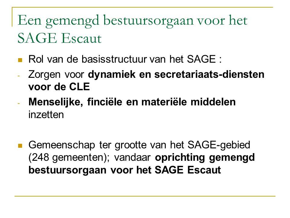 Een gemengd bestuursorgaan voor het SAGE Escaut Rol van de basisstructuur van het SAGE : - Zorgen voor dynamiek en secretariaats-diensten voor de CLE