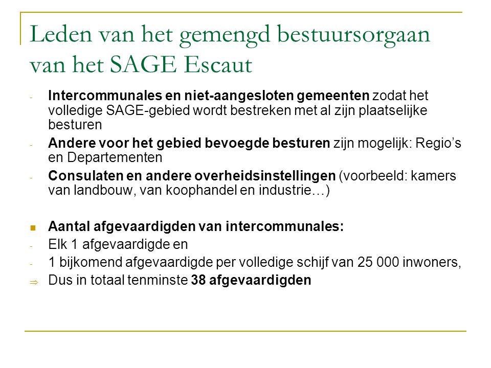Leden van het gemengd bestuursorgaan van het SAGE Escaut - Intercommunales en niet-aangesloten gemeenten zodat het volledige SAGE-gebied wordt bestrek
