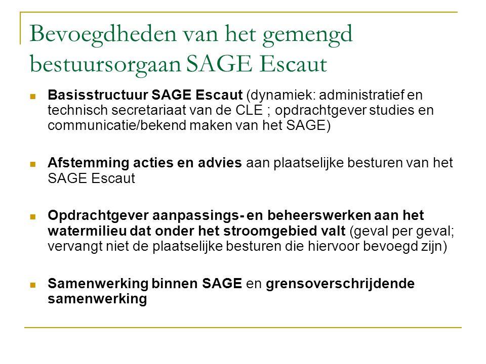 Bevoegdheden van het gemengd bestuursorgaan SAGE Escaut Basisstructuur SAGE Escaut (dynamiek: administratief en technisch secretariaat van de CLE ; op