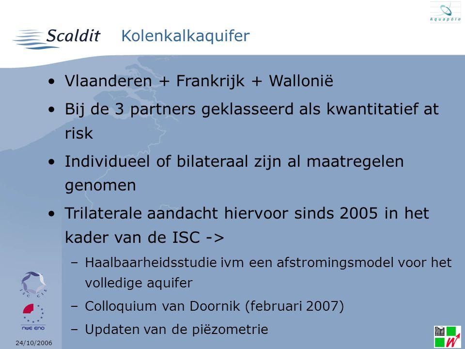 24/10/2006 Kolenkalkaquifer Vlaanderen + Frankrijk + Wallonië Bij de 3 partners geklasseerd als kwantitatief at risk Individueel of bilateraal zijn al maatregelen genomen Trilaterale aandacht hiervoor sinds 2005 in het kader van de ISC -> –Haalbaarheidsstudie ivm een afstromingsmodel voor het volledige aquifer –Colloquium van Doornik (februari 2007) –Updaten van de piëzometrie