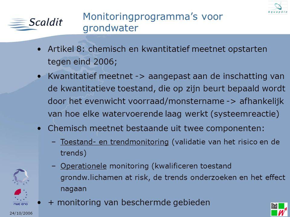 24/10/2006 Monitoringprogramma's voor grondwater Artikel 8: chemisch en kwantitatief meetnet opstarten tegen eind 2006; Kwantitatief meetnet -> aangepast aan de inschatting van de kwantitatieve toestand, die op zijn beurt bepaald wordt door het evenwicht voorraad/monstername -> afhankelijk van hoe elke watervoerende laag werkt (systeemreactie) Chemisch meetnet bestaande uit twee componenten: –Toestand- en trendmonitoring (validatie van het risico en de trends) –Operationele monitoring (kwalificeren toestand grondw.lichamen at risk, de trends onderzoeken en het effect nagaan + monitoring van beschermde gebieden