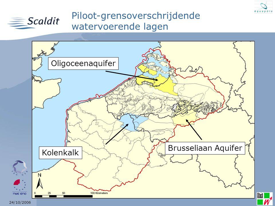 24/10/2006 Oligoceenaquifer Vlaanderen + Nederland Niet at risk in Vlaanderen en kwantitatief at risk in Nederland Verschillende hydrogeologische context en uitbating Momenteel wordt bilateraal een overzicht gemaakt van de gegevens