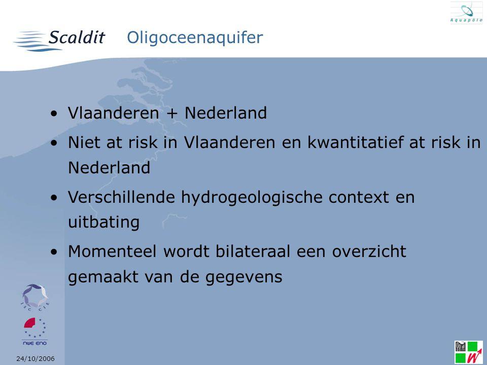 24/10/2006 Brusseliaanaquifer Brussel + Vlaanderen + Wallonië De 3 partners hebben dit als at chemical risk geklasseerd omwille van het nitraat Er zijn beschermde gebieden (kwetsbare gebieden) Momenteel wordt trilateraal een overzicht van de gegevens gemaakt